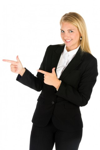 Business woman pointing.