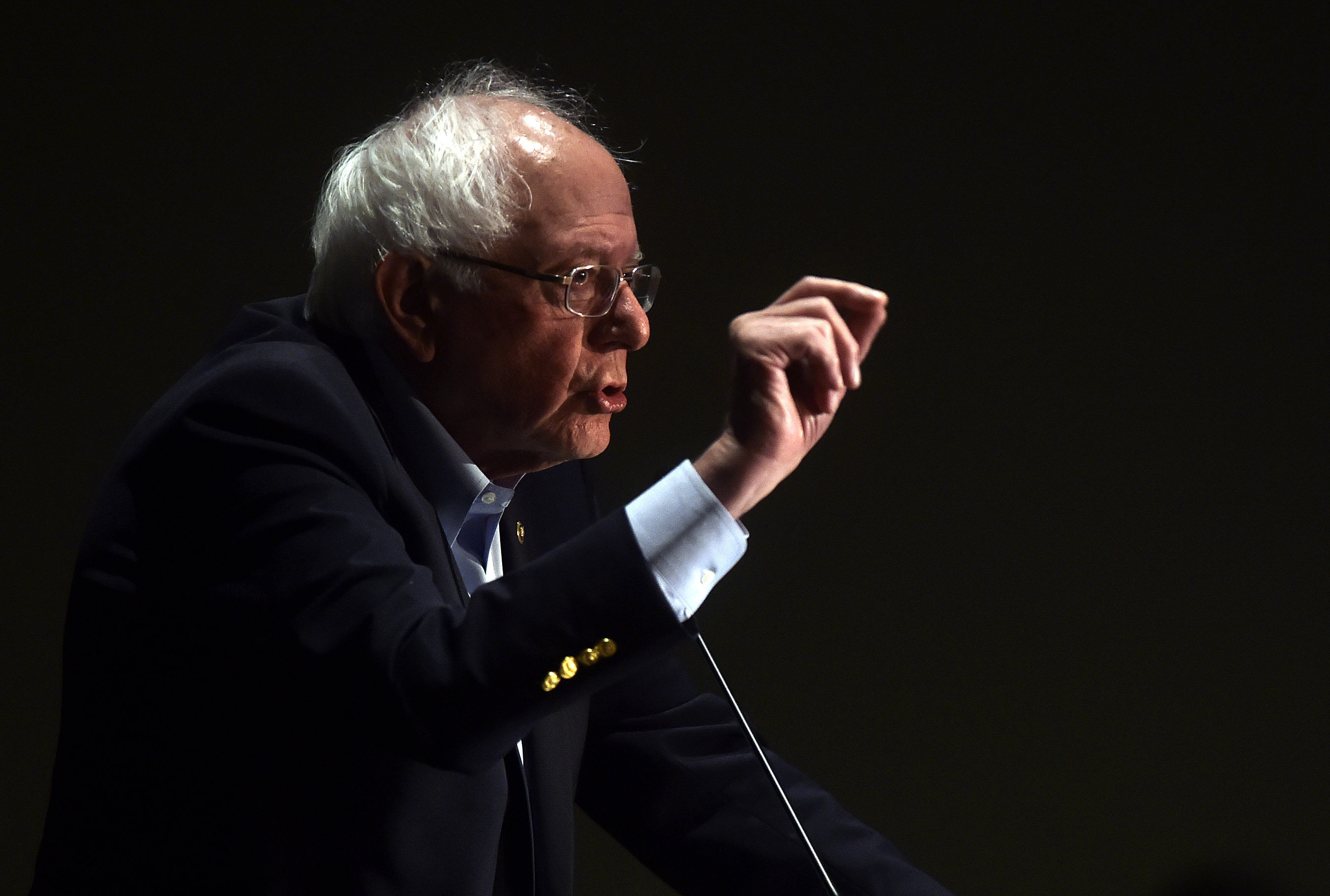 Presidential hopeful Bernie Sanders speaks at a Pennsylvania Association of Staff Nurses and Allied Professionals conference where he spoke about the nursing industry and medical insurance at the Mohegan Sun Pocono, Pa., on Monday, April 15, 2019. (Aimee Dilger/The Times Leader via AP)