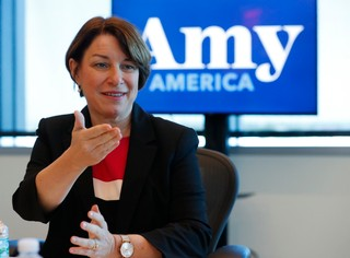 Democratic presidential candidate Amy Klobuchar speaks during a roundtable discussion on health care, Tuesday, April 16, 2019, in Miami. Klobuchar met with local medical professionals and advocates to talk about the cost of prescription drugs access to healthcare. (AP Photo/Wilfredo Lee)