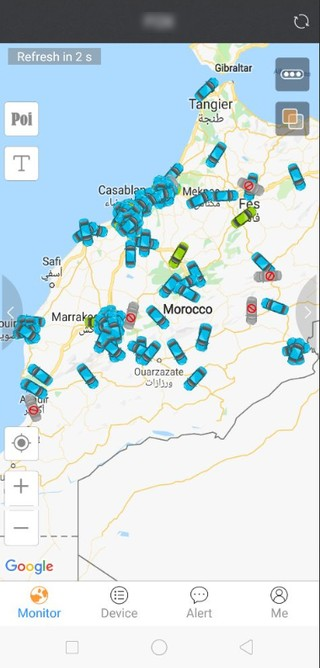 Screenshot of a map or Morocco and cars tracked via GPS