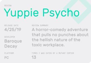 Yuppie Psycho review block