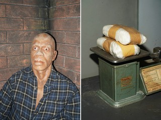 A split-screen image showing a model of a corpse on the left, and two bags of presumably fake cocaine on a scale on the right