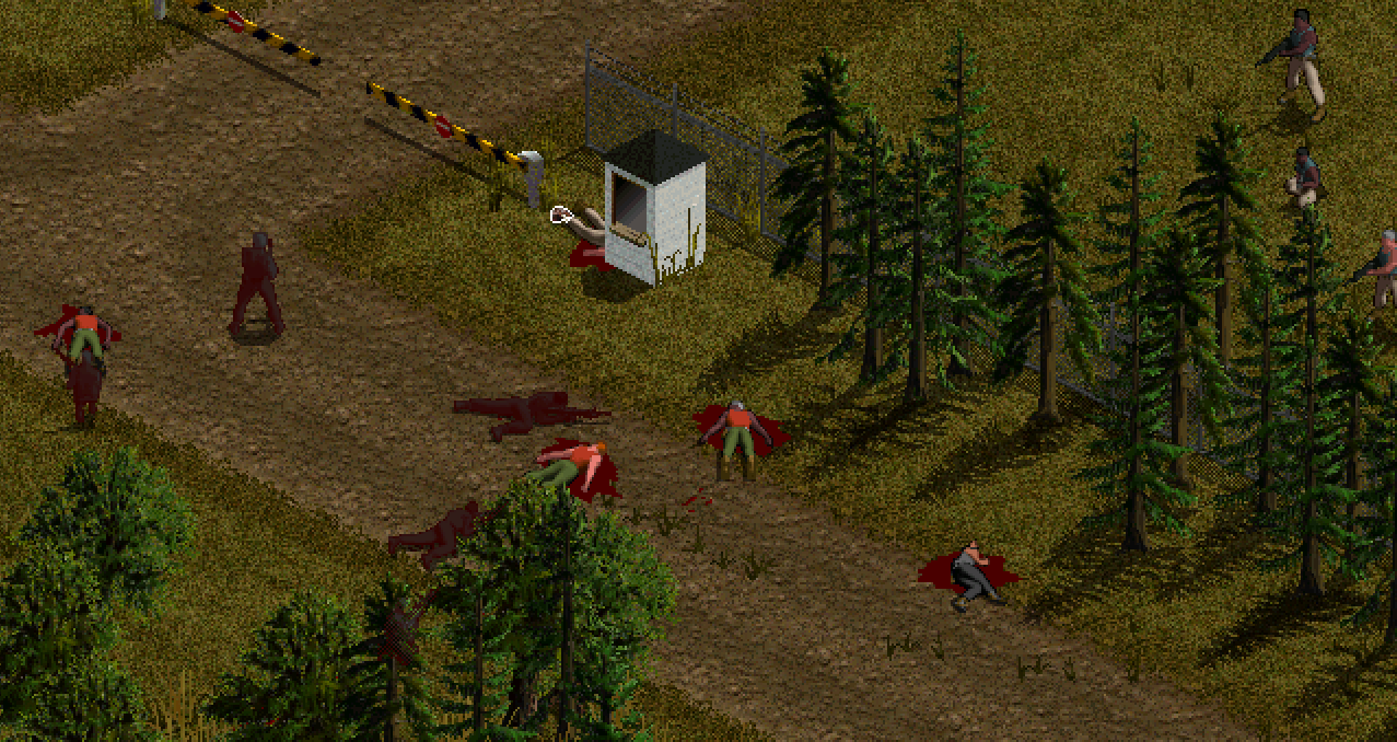 Dead enemy soldiers outside a SAM site in Jagged Alliance 2