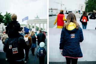 Demonstranten beim Protest gegen Kinderarmut