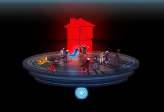 An image from homestuck, many people greet each other on a platform floating in a void, with a glowing red house behind them