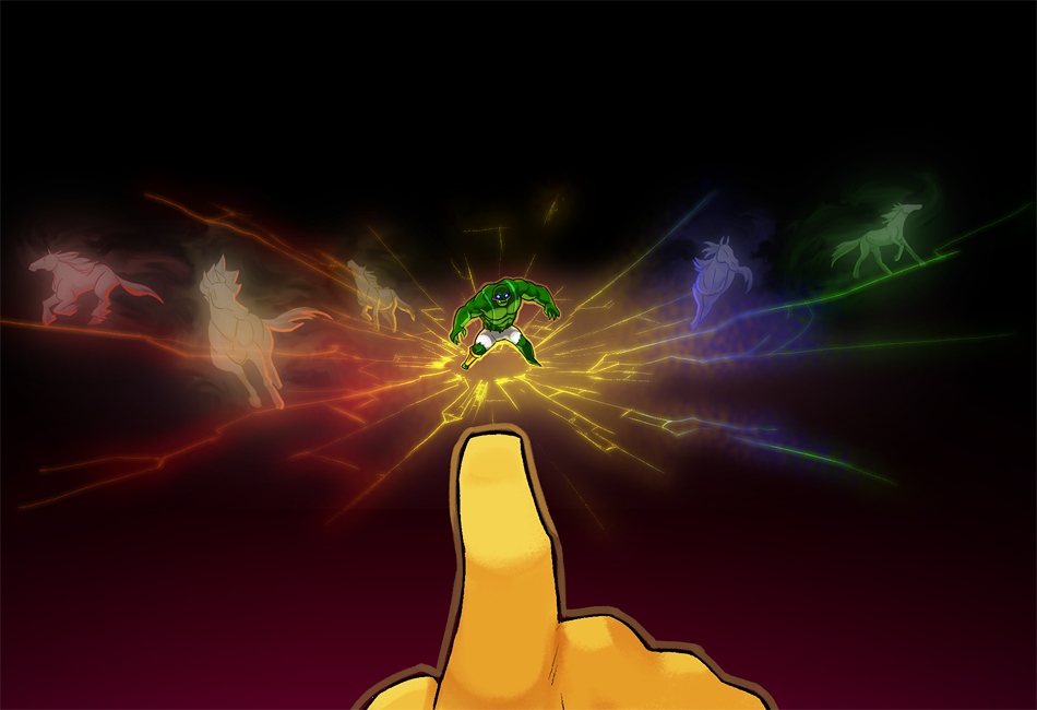 Image from Homestuck, a yellow hand pointing at a green humanoid figure, from which many multi-colored horses are emerging