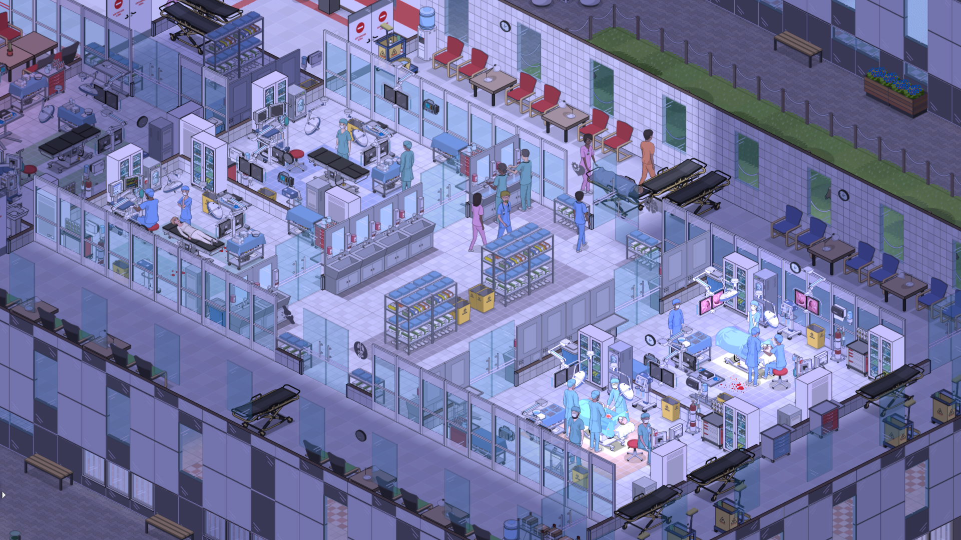 A hossital scene at night in the labs