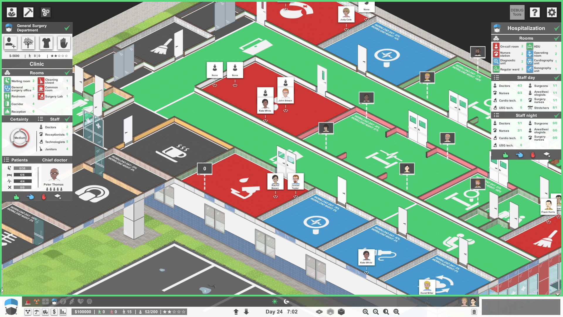 A layout screen in Project Hospital