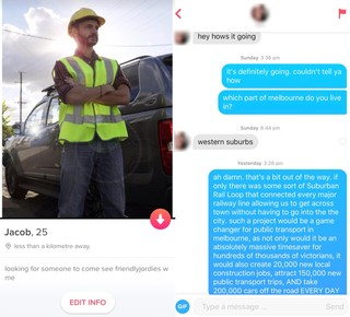 Labor Tinder profile