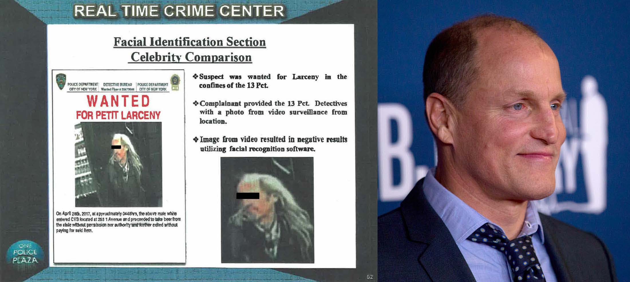 NYPD used a photo of Woody Harrelson to identify an alleged robbery suspect.