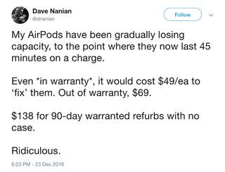 Ein Twitter-User beschwert sich über den schlechten AirPod-Akku
