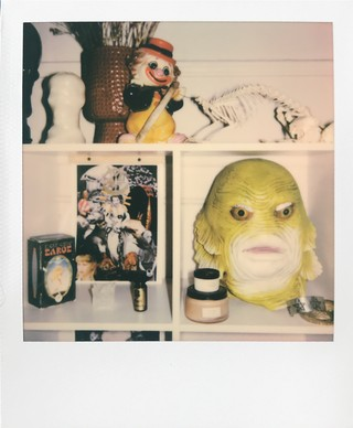 masks, clown, horror ephemera in meredith graves's home