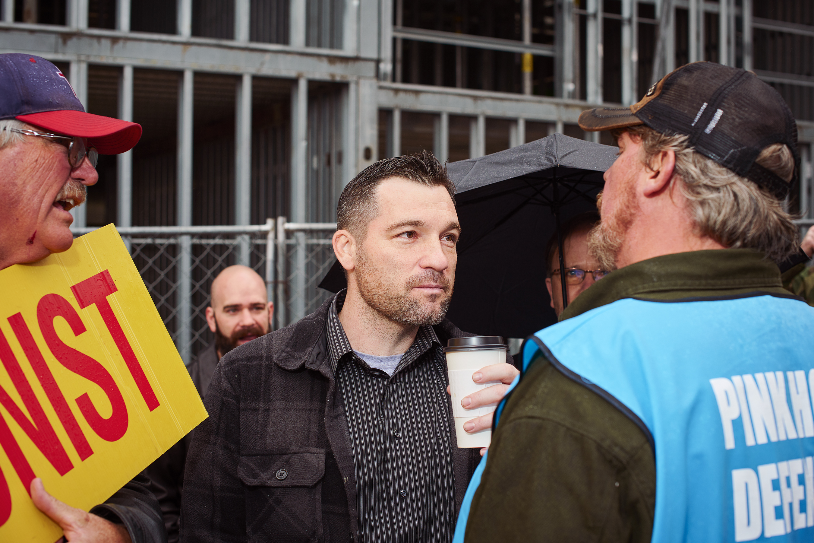 OSA assistant director Jason Storms antagonizes clinic escorts outside the abortion facility. Photo by Finlay MacKay.