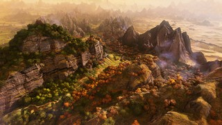 A beautiful mountain and forest range on the strategy map in Three Kingdoms