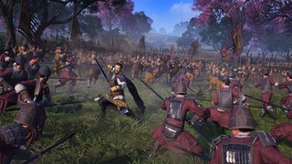 A hero surrounded by enemies in a Total War Three Kingdoms review