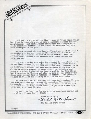 Letter sent out with the first issue of 'Transworld Skateboarding'