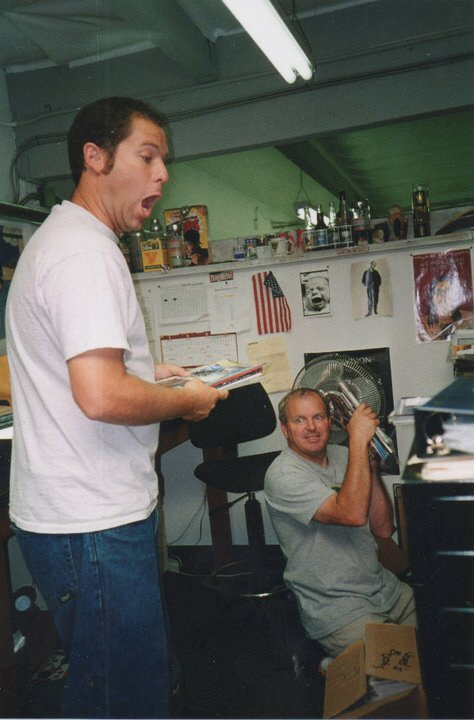 Dave Swift and Grant Brittain at the Transworld office