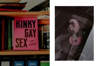 Plüsch-Handschellen und ein Buch über homosexuellen Sex