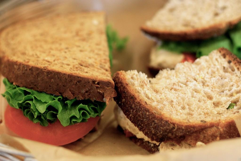 a sandwich from hana food in williamsburg, brooklyn
