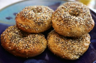 four everything bagels from bagelsmith in brooklyn