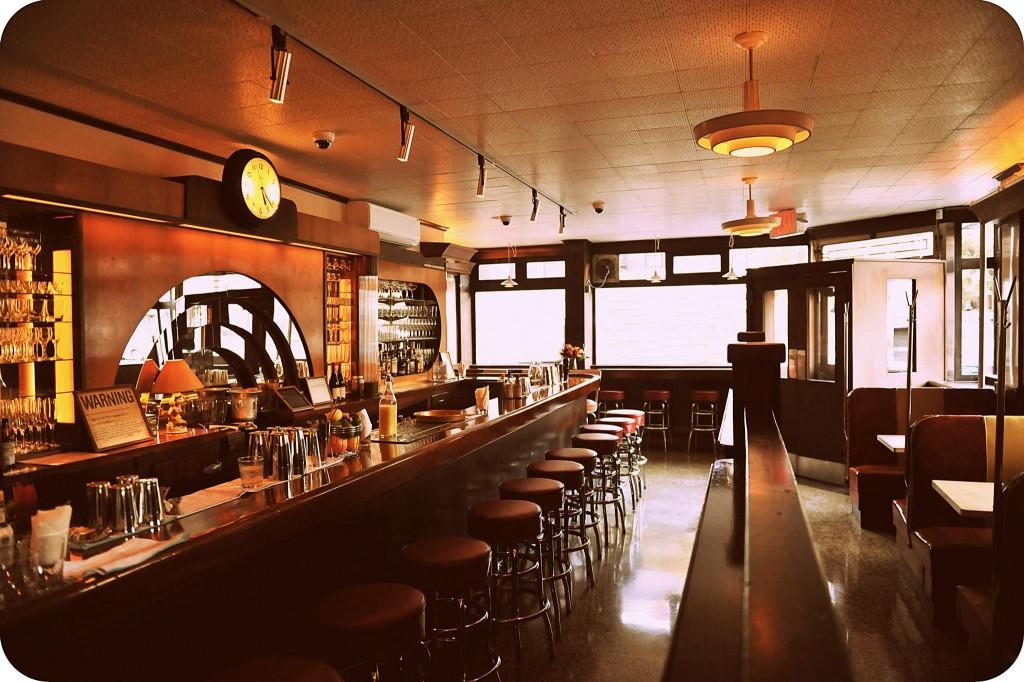 bar counter and booths at the long island bar in brooklyn