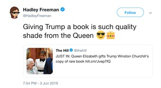 Hadley Freeman Tweet Donald Trump The Queen Book