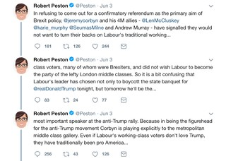 Robert Peston tweet Corbyn working classes pro-Trump