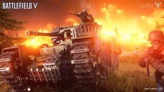 A german tank rolls through fire