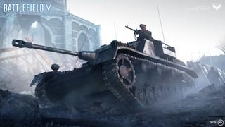 A german tank advances in battlefield
