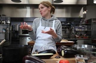 chef abra berens of granor farm in the munchies test kitchen