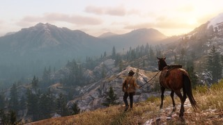 Arthur Morgan and his horse overlook a hyper-realistic valley in 'Red Dead Redemption 2'