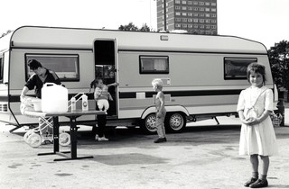 Traveller family with their van