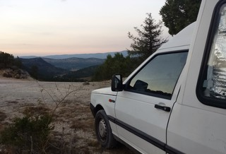 Van facing a picturesque view
