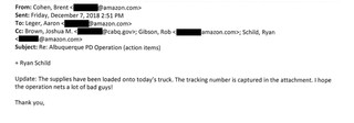 December 7 email with representatives from Amazon, Ring, and the Albuquerque Police Department. Email addresses redacted by Motherboard.