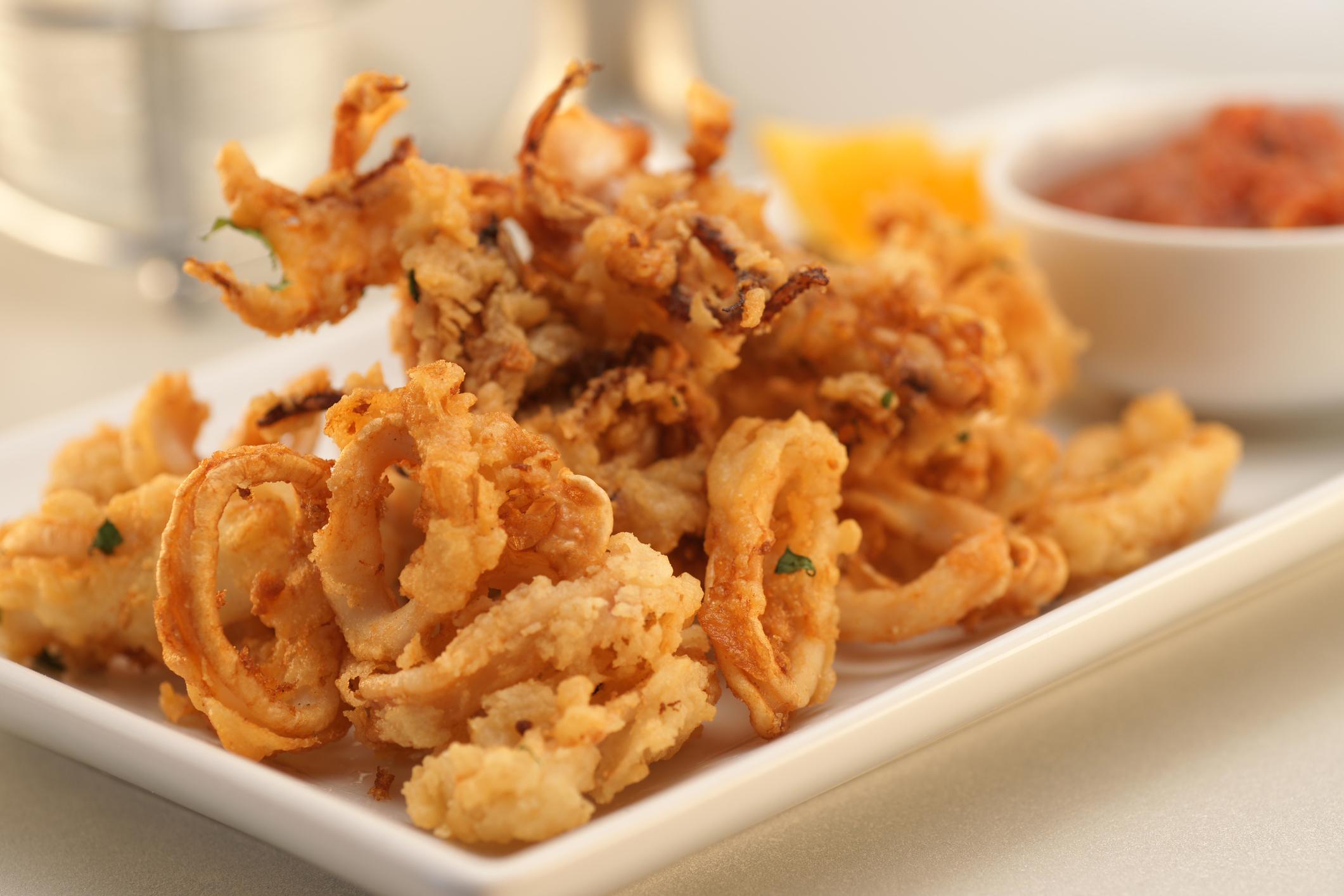 a white plate with fried calamari and marinara sauce