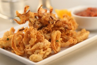 a white plate with fried calamari and marinara sauce