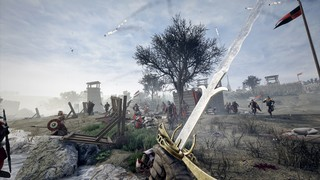 A character brandishes a sword in Mordhau
