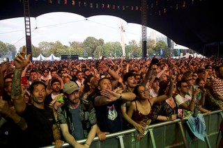 Crowd at Noisey stage Lovebox festival 2019