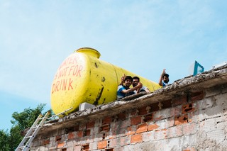 Ein Wassertank im Flüchtlingscamp