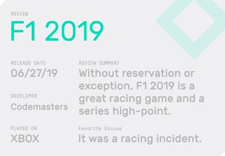 The review summary for F1 2019, which notes that calling something