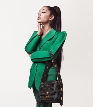 Ariana Grande Givenchy campaign green suit