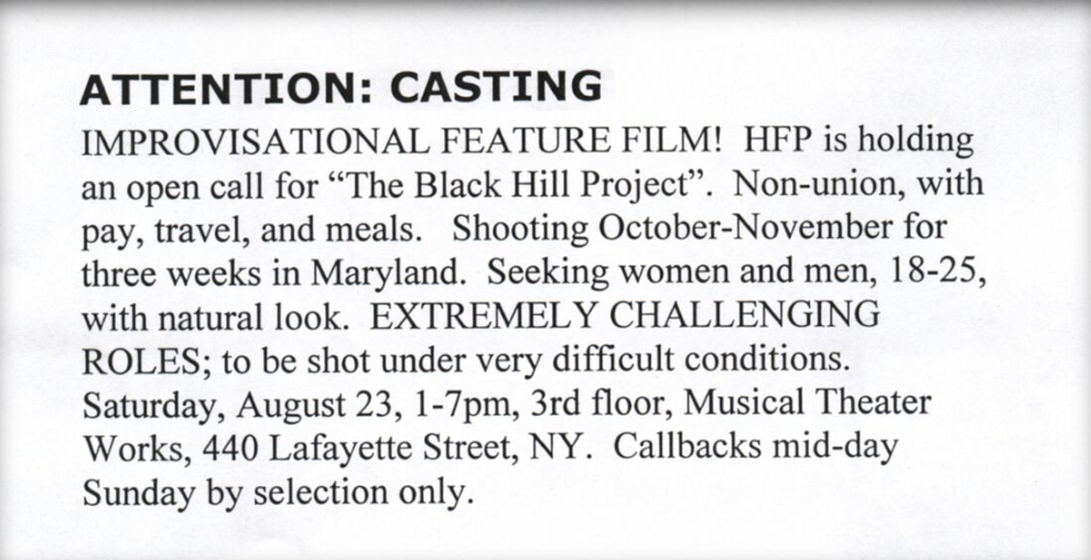 blair witch casting call