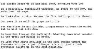 Eine Drehbuchseite aus dem Staffelfinale von Game of Thrones