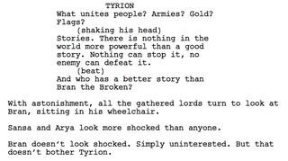 Eine Drehbuchseite aus dem Finale von Game of Thrones