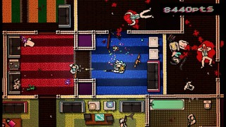 Jacket in Hotline Miami slaughters a floor full of people, bodies in white linen suits lying in pixelated pools of blood against a clashing, primary-color palette.