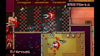 Hotline Miami depicts of a scene of bloody ultra-riolence as characters lie scattered in around a bathroom in a scene meant to discomfit and critique.