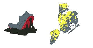 illustrations of a foot sticking to melted asphalt and New York City going through a blackout.