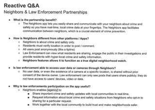 Reactive Q&A document obtained by Motherboard from the Maywood Police Department.