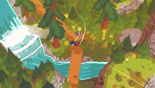 With motion lines coming off its wings, a little bird swoops over a waterfall in a short hike