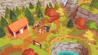A bird talks to a dog farmer over a campfire in A Short Hike, a new kind of walking simulator.